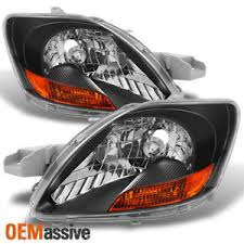 07 12 toyota yaris sedan black bezel headlights ls replacement