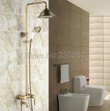 retro antike messing bad regen dusche wasserhahn set einzigen griff mischbatterie mit dusche lrs152