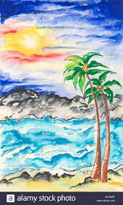 ARS Painting illustration drawing color of beach sea sun with sunset and palm trees India