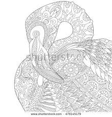 Stylized Flamingo Bird Isolated On White Background Freehand Sketch For Adult Anti Stress Coloring