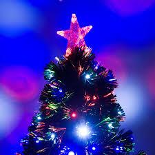 3ft Christmas Tree Uk by Homcom 3ft Pre Lit Led Optical Fiber Christmas Tree Artificial