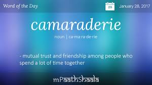 definitions synonyms antonyms of camaraderie word of the day