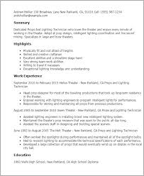 Props And Lighting Technician Resume Template Best Design Tips Rh Myperfectresume Com Stage Designer