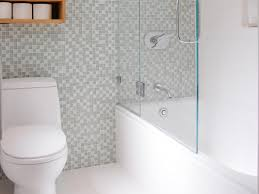 white tiny bathroom with shower decoration using grey white glass