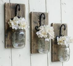 Rustic Farmhouse Wood Wall Decor3 Individual Hanging Mason Jars