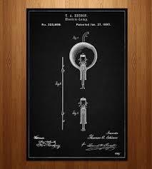 edison light bulb patent print prints posters patent
