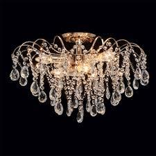kristall deckenleuchte gold klassisch rund wohnzimmer