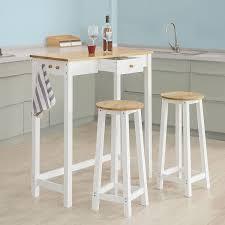 sobuy fwt50 wn bartisch set 3 teilig stehtisch mit 3 haken und einer schublade bistrotisch
