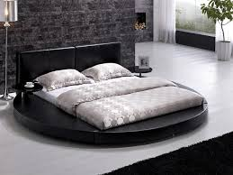 black leather headboard round bed queen tos t009 blk q