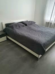 musterring schlafzimmer komplett abzugeben grau weiss hochglanz