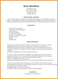 Labourer Resume Objective Examples Laborer Construction Worker 8 Professional Templates To Exam Sample