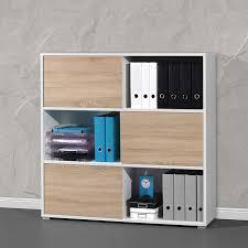 armoire bureau de bureau basse bois et blanc leader