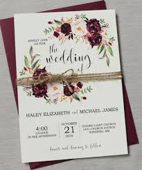 Marsala Wedding Invitation Printable Suite Burgundy Pink Bohemian