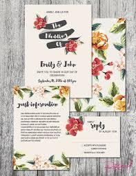 Wedding Invitation Tropical Theme Custom Floral DIGITAL FILE