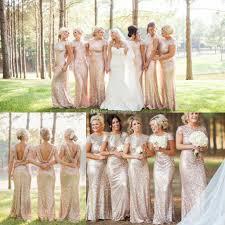 2015 high fashion gold sequin long bridesmaid dresses cap sleeves