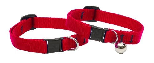"Lupine Adjustable Cat Safety Collar - 1/2"" x 8-12"", Red"