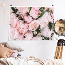 poster rosa pfingstrosen mit blättern querformat 3 4