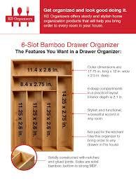 Desk Drawer Organizer Amazon by Amazon Com Kd Organizers 6 Slot Bamboo Drawer Organizer 17 75 X