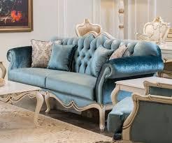 casa padrino luxus barock sofa blau weiß 225 x 87 x h 101 cm wohnzimmer sofa mit dekorativen kissen wohnzimmer möbel im barockstil