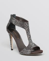 le silla open toe t strap evening sandals crystal high heel in