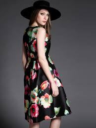 free shipping the most classic black red floral print sleeveless