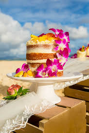 Hawaiian Themed Naked Wedding Cake On Lanikai Beach