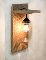 jar light fixture reclaimed wood wall sconce