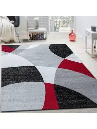 paco home designer teppich kurzflor teppich modern abstrakte halbkreise muster in rot grau klingel