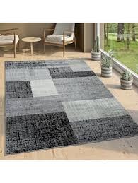 designer wohnzimmer teppich modern kurzflor karo design grau