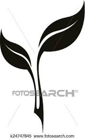 Clipart Of Vector Black Stylized Tea Leaf K24747845