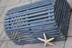 Decorative Lobster Traps Large by Lobster Trap Cardbox Card Box Holder Gray Wash Dark Grey Blue