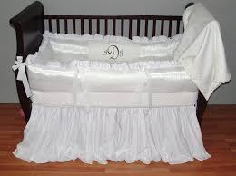 White Luxury Baby Linens This custom 3 pc baby crib bedding set