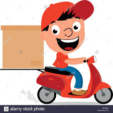 Cartoon Courier Man Riding A Scooter And Delivering Box