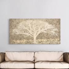 tree on a grey brocade