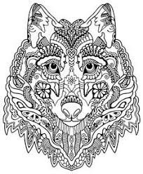 Wolf Abstract Doodle Zentangle Coloring Pages Colouring Adult Detailed