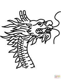 Chinese Dragon Head Coloring Page Inside