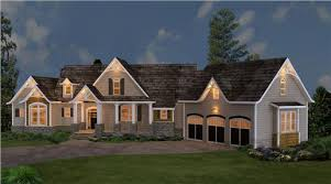 Stone Siding And Cedar Shakes Blend Beautifully Together To Create A Unique Look For This Rustic Ranch Style House Plan The Full Front Porch Is Ideal