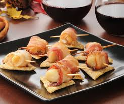 canapes aperitif aperitif recipe scallop toasts with bacon and thyme