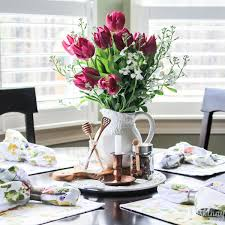 Find Some New Floral Placemats And Napkins To Lighten Up Your Dark Kitchen Table Add Tulips In A Carafe For The Perfect Spring Centerpiece