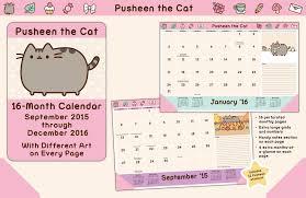 pusheen the cat 2015 2016 16 month desk pad calendar september