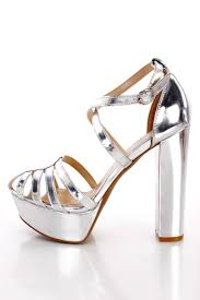 silver strappy caged chunky platform heels faux leather