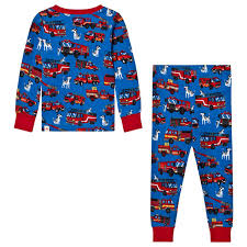 Hatley - Blue Fire Truck Print Pyjamas - Babyshop.com
