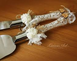 Wedding Cake Server Set Knife Rustic Cutting