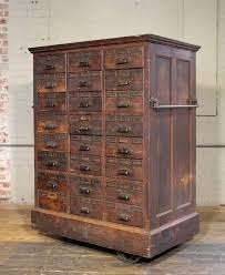 rolling apothecary wood storage cabinet vintage industrial with