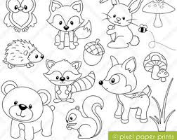 Items Similar To Coloring Book Forest Animals Digital