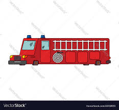 100 Big Red Fire Truck Engine Car Cartoon Style Big Red Car Vector Image