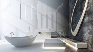 modernes luxus designer badezimmer mit grauem dekor und einer freistehenden ovalen boot förmigen badewanne die durch einfallendes sonnenlicht