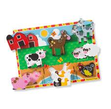 Melissa And Doug Dinosaur Floor Puzzles by Amazon Com Melissa U0026 Doug Farm Wooden Chunky Puzzle 8 Pcs
