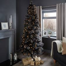 7ft Pre Lit Christmas Tree by 7ft Verbier Black Pre Lit Christmas Tree Departments Diy At B U0026q