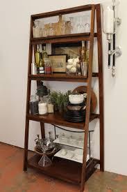 bathroom dark finished wood ladder shelf idea for set bathroom